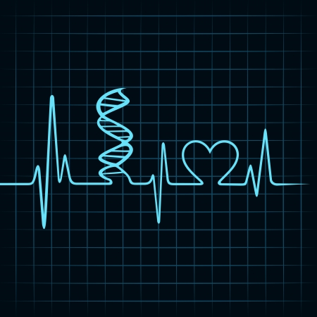 infatuation: Heartbeat make DNA stand and heart symbol stock vectorEco cityscape make a tree stock vector Illustration