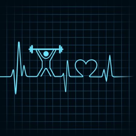 Heartbeat make lifting man and heart symbol stock vector