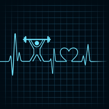 heartbeat: Heartbeat make lifting man and heart symbol stock vector