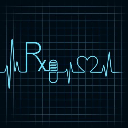 ハートビート確認 Rx テキスト、カプセルや心臓記号株式ベクトル  イラスト・ベクター素材