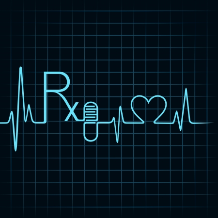 Heartbeat make Rx text,capsule and heart symbol stock vector Vector