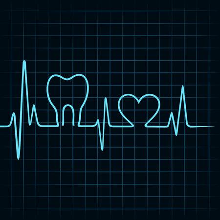 dental health: Heartbeat make a teeth and heart symbol stock vector