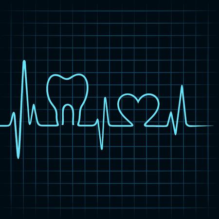 Heartbeat make a teeth and heart symbol stock vector