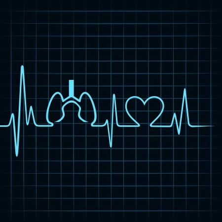 Heartbeat hacen los pulmones y el símbolo del corazón stock vector