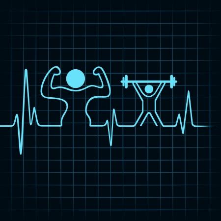 heartbeat fare un body builder e sollevamento pesi uomo stock vector Vettoriali