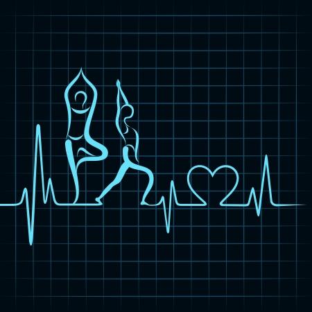 battement de coeur faire un stock vector fille de yoga et le symbole du coeur