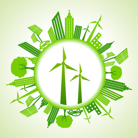 Eco cityscape with wind mill stock vector Vector