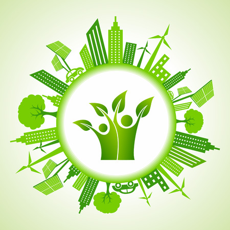 Eco cityscape with green icon stock vector Vector