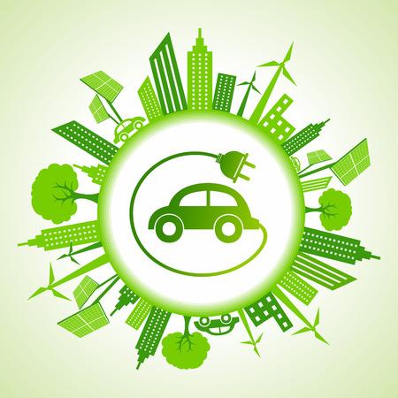 Eco paysage urbain avec la voiture électrique Image vectorielle Banque d'images - 25666047