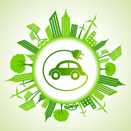 Eco stadsgezicht met elektrische auto stock vector