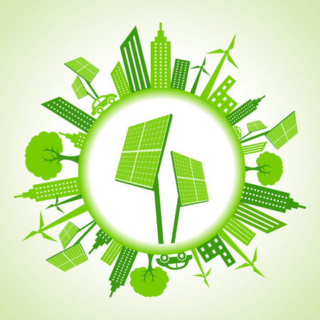 go green icons: Eco cityscape with solar panel stock vector