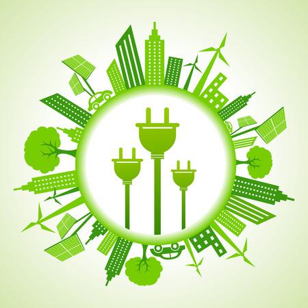 electric plug: Eco paesaggio urbano con la spina elettrica stock vector