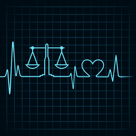 compare: Heartbeat make a weighing machine and heart symbol stock vector