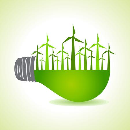 windfarm: Eco lampadina di luce con i mulini a vento stock vector