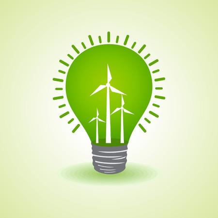windpower: Eco light bulb with windmills stock vector Illustration