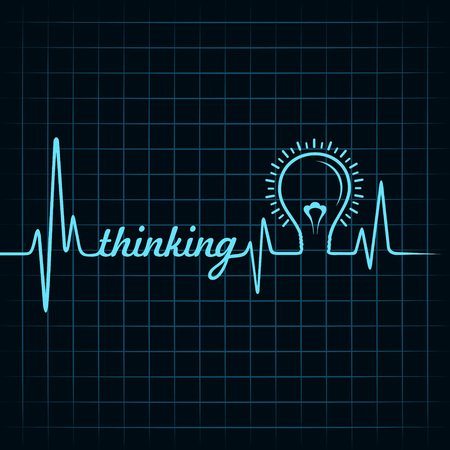 heartbeat make thinking word and light-bulb stock vector Stock Vector - 26078604