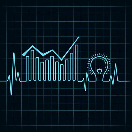 puls: Producent wykres biznesu tętno i żarówka Grafika wektorowa