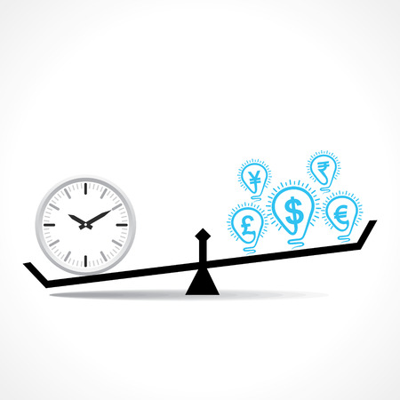 unbalanced: compare clock and dollar bulb , time is money conceptual vector