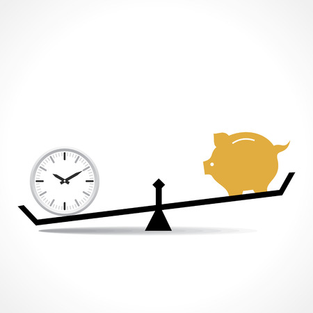 life balance: time is more important than money concept vector Illustration