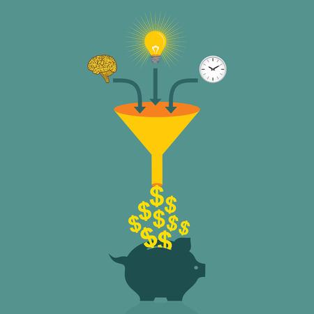 piggy bank: save money in piggy bank concept vector