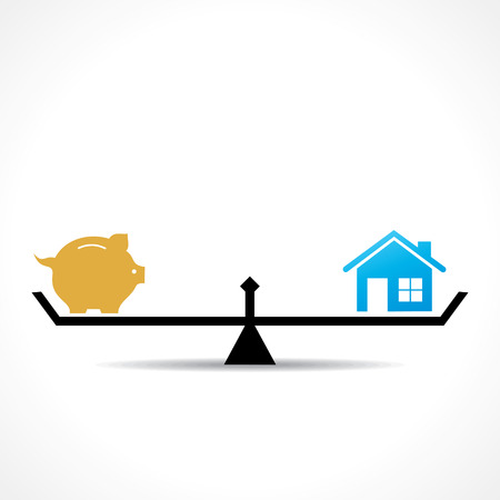 weighing scale: compare money and home concept vector