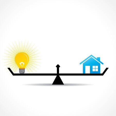 compare: compare home and bulb idea  concept vector