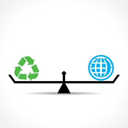 equal to: recycle symbol and global both are equal , go green and save earth concept vector Illustration