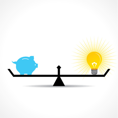 balanced: piggy bank and bulb idea  both are equal on weighing concept vector