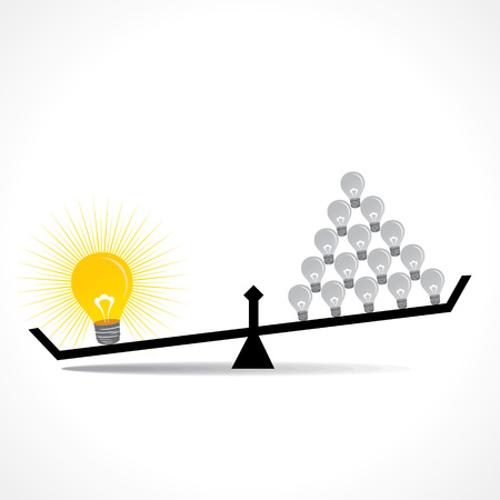 outweigh: many small idea compare with big idea concept vector Illustration