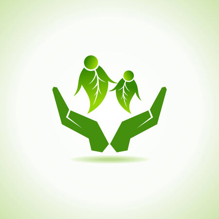 eco-friendly couple under hand concept vector Vector
