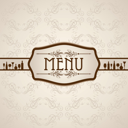 dinning table: template for menu card with cutlery stock vector