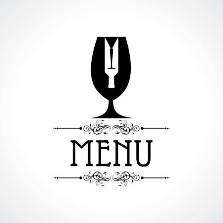 menu card with wine glass and bottle stock vector Vector