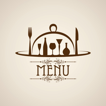 food and drink holiday: template for menu card with cutlery stock vector