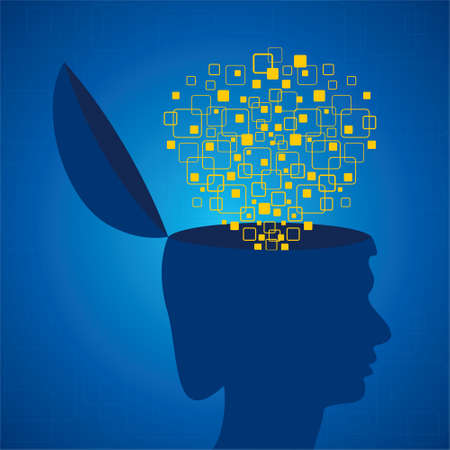 emitting: Human head emitting squares stock vector