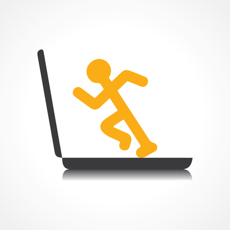 conscious: Man running with technology stock vector Illustration