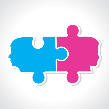 Male and female face with puzzle pieces stock vector Vector