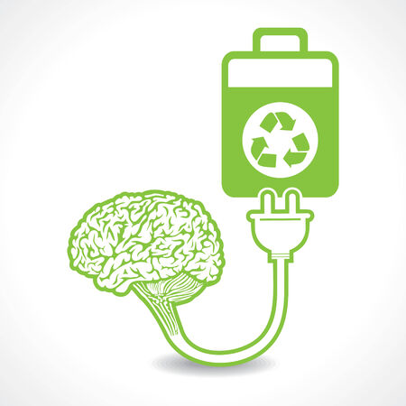charged: creative brain Idea symbol charged by a eco battery stock vector