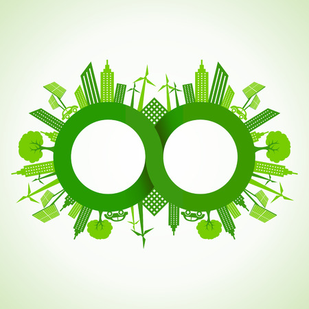 Eco cityscape around infinity symbol stock vector Vector
