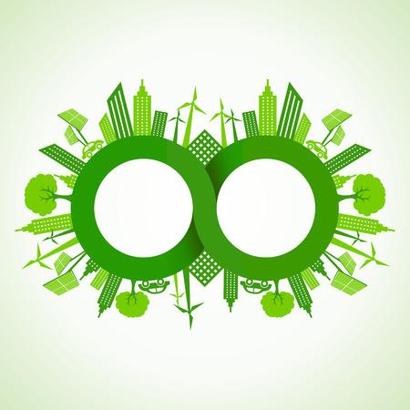 Eco cityscape around infinity symbol stock vector Vector