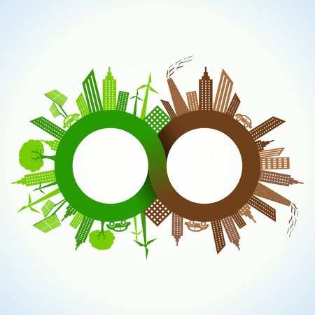 Eco and Polluted city around infinity symbol stock vector Vector