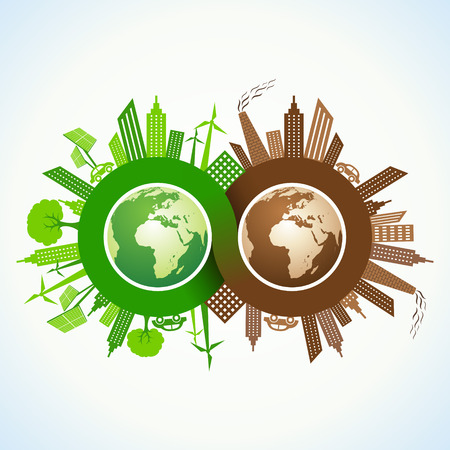 Eco and Polluted city around infinity symbol and earth stock vector Illustration