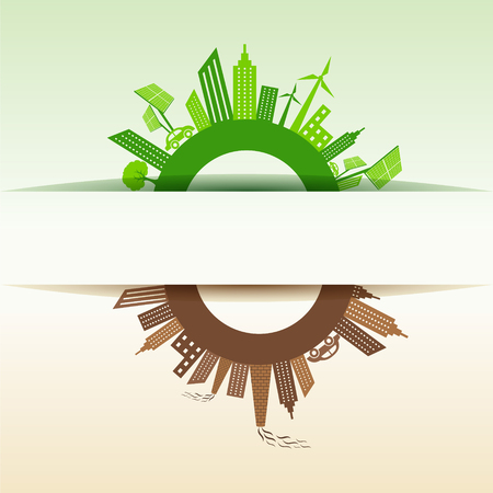 Eco and Polluted city concept stock vector Vector