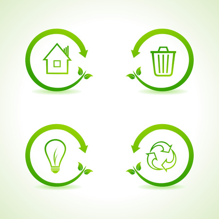 energy conservation: Set of eco icons stock vector Illustration