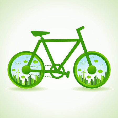 save water: Go green concept - Eco cityscape in bicycle  stock vector
