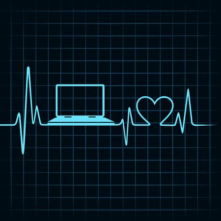 Concepto de la tecnología médica, los latidos del corazón hacen un ordenador portátil Foto de archivo - 27691062