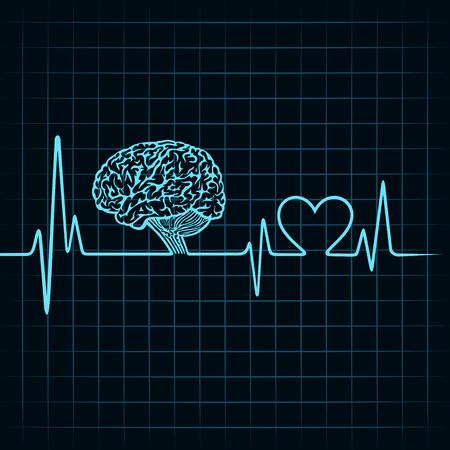 enfermedades mentales: Concepto de la tecnolog�a m�dica, los latidos del coraz�n hacen un cerebro Vectores