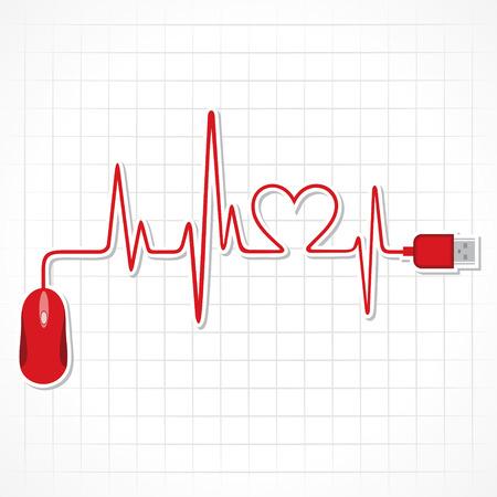 cruz roja: latidos del corazón con el ratón y el ordenador portátil stock vector Vectores