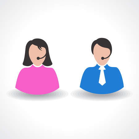 male or female call center worker concept vector Vector