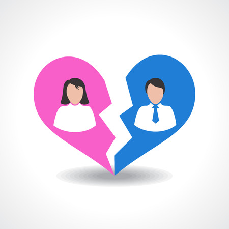 sad love: people break the love relationship concept vector