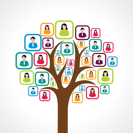 social responsibility: creative colorful social media people tree concept vector Illustration